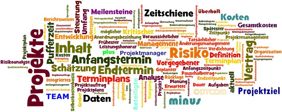 Knopf zu DTCOM, Knopf zu Projektmanagement, Knopf zu Dr. Peter Dreschmann,