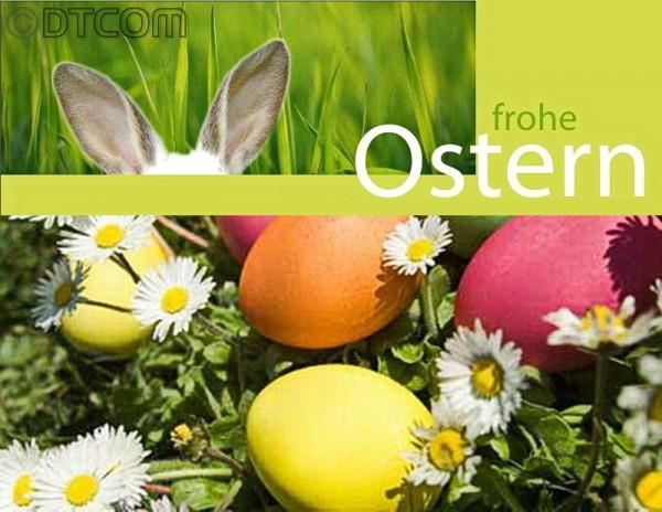 Knopf zu Ostergrüsse, Knopf zu frohe Ostern, Frohe Ostern DTCOM